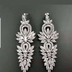 Rhodium plated CZ chandelier earrings